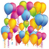 Colorful background with flying balloons and serpentine. Illustration Royalty Free Stock Image