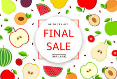 The colorful background with fruit. Final Sale poster, banner. Stock Photos