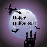 Halloween theme with a wich flying on a broom Royalty Free Stock Photos