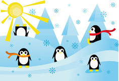 Colorful background with funny penguins Stock Images