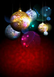 Colorful background with fur tree golden and silver mosaic balls on a dark backdrop. Royalty Free Stock Photo