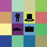 Colorful background of gentleman costume. In retro style Royalty Free Stock Photography