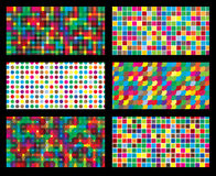 Colorful background geometric seamless repetitive vector graphic. This illustration consists of transparent squares, cirles, rounds & polka dots pattern Stock Photography