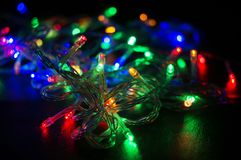 Background with glowing Christmas garland Royalty Free Stock Image