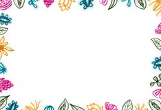 Colorful Floral Background With Hand Drawn Elements. Colorful background with hand drawn floral elements. White background. Copy space royalty free illustration