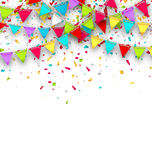 Colorful Background with Hanging Bunting and Confetti for Your Party Stock Photography