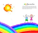 Colorful background with happy child on rainbow Royalty Free Stock Photography