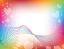 Colorful background with hearts. Abstract lines  and circles Stock Photos
