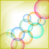Colorful background with hearts and circles Royalty Free Stock Photography