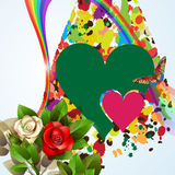 Colorful background with hearts and roses Stock Images
