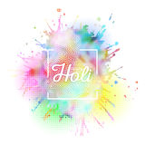 Colorful background for Holi celebration with colors splash, vector illustration Stock Photo