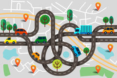 Colorful background with landscape, road and city map. Top view. City map with cars and trees for web banners, info graphic and  brochure. Vector illustration Royalty Free Stock Images