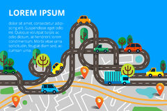 Colorful background with landscape, road and city map. Top view. City map with cars and trees for web banners, info graphic and brochure. Vector illustration vector illustration
