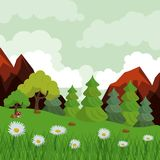 Colorful background with landscape of rocky mountains and trees and daisy flower field. Vector illustration Stock Image