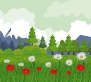 Colorful background with landscape of trees and flower field. Vector illustration Royalty Free Stock Image