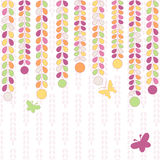 Colorful background with leaves and butterflies. Vector colorful background with leaves and butterflies Royalty Free Stock Photography