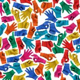 Colorful Background made with Multi Hands Signs royalty free stock photo