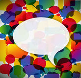 Colorful background made from speech bubbles. With one big in the front royalty free illustration