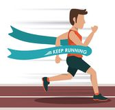 Colorful background with male athlete running in track and crossing the finish line. Vector illustration Royalty Free Stock Images