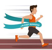 Colorful background with man athlete running in track and crossing the finish line. Vector illustration Stock Image