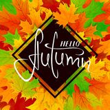Colorful background with maple leaves and lettering Hello Autumn vector illustration