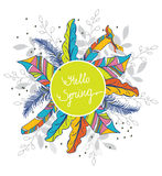 Colorful background with a pattern of colorful feathers and floral elements Royalty Free Stock Images
