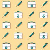 Colorful background with pattern of first aid kit and syringes animated. Vector illustration Royalty Free Stock Image