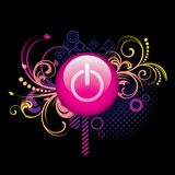 Colorful_background_and_pink_power_button Stockbild