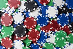 Colorful Background of Poker Gambling Chips Royalty Free Stock Images