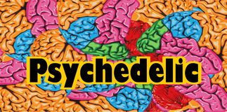 Colorful background psychedelic the human brain Stock Photography