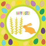 Colorful background with rabbit and font Stock Photos