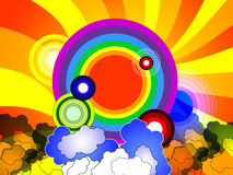 Colorful background with rainbow. Sun beams, clouds and circles Royalty Free Stock Photos