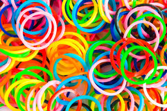 Colorful background rainbow colors rubber bands loom Royalty Free Stock Photos