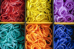 A Colorful background Rainbow loom rubber bands fashion Stock Photos