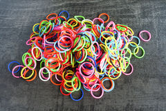 A Colorful background Rainbow loom rubber bands fashion Stock Image