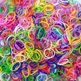 Colorful background Rainbow loom rubber bands fashion Stock Images