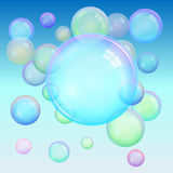 Colorful background of realistic transparent colorful soap bubbl Stock Photography