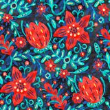 Colorful background with red flowers, acrylic painting. Seamless pattern. Hand-drawn illustration Royalty Free Stock Photos