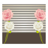 colorful background with roses and striped lines Royalty Free Stock Image