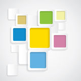 Colorful background rounded squares with borders -. Vector graphic. This backdrop graphic is made of orange, yellow, pink, red, green, off-white & blue papers Stock Photos