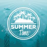 Colorful background sea landscape underwater and logo summer time silhouette island with palms. Vector illustration Royalty Free Stock Photography