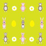 Colorful background with sheep and rabbit Royalty Free Stock Photos