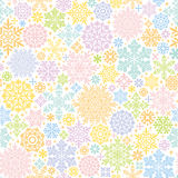 Colorful background with snow crystals and doilies. Stock Photography