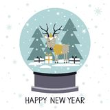 Colorful background with snow globe stock illustration