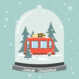 Colorful background with snow globe royalty free illustration