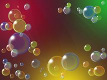 Soap bubbles on a bright colored background. Colorful background with soap bubbles and gentle transparent stripes royalty free illustration