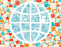 Colorful background of social networking icons Stock Photo