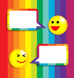 Colorful Background With Speech Bubble and Face ic Stock Photos