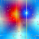 Colorful background with stars and bubbles. Abstract colorful background and transparent bubbles. Lights and stars background. Energy and reflections of the Royalty Free Stock Images
