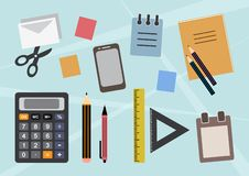 Colorful background with stationery, office or school supplies. Vector